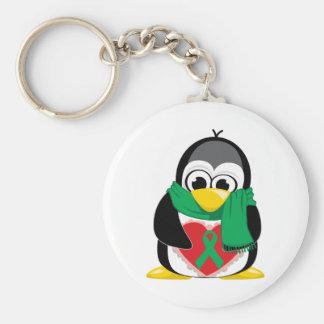 Green Ribbon Penguin Scarf Basic Round Button Keychain