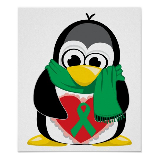 Green Ribbon Penguin Scarf Poster