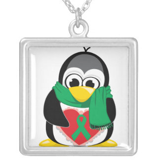 Green Ribbon Penguin Scarf Silver Plated Necklace