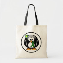 Green Ribbon Penguin Tote Bag