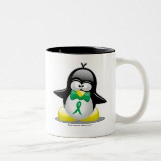 Green Ribbon Penguin Two-Tone Coffee Mug