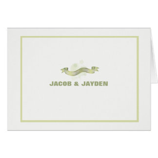 Green Ribbon Personalized Photo Thank You/Notecard Cards