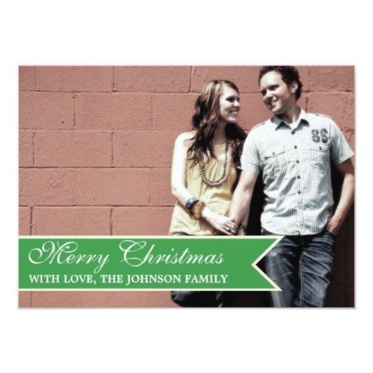 Green Ribbon Photo Christmas Cards