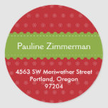 Green ribbon red Christmas holiday address label Round Sticker
