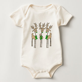 Green Ribbon Reindeer (Kidney Cancer) Baby Bodysuit