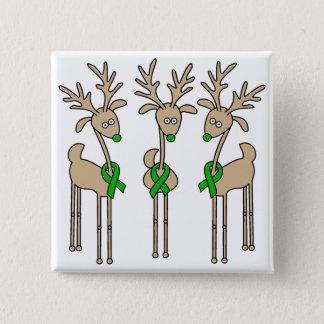 Green Ribbon Reindeer (Kidney Cancer) Button