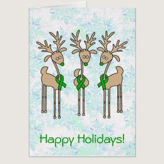 Green Ribbon Reindeer (Kidney Cancer) Card