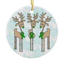 Green Ribbon Reindeer (Kidney Cancer) Ceramic Ornament