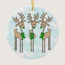 Green Ribbon Reindeer (Kidney Cancer) Ceramic Ornament