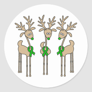Green Ribbon Reindeer (Kidney Cancer) Classic Round Sticker
