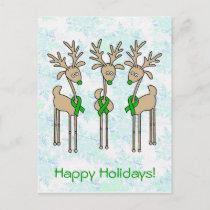 Green Ribbon Reindeer (Kidney Cancer) Holiday Postcard