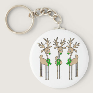 Green Ribbon Reindeer (Kidney Cancer) Keychain
