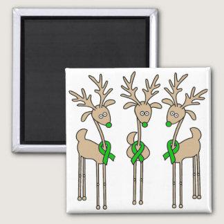 Green Ribbon Reindeer (Kidney Cancer) Magnet