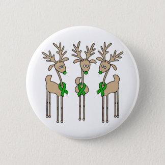 Green Ribbon Reindeer (Kidney Cancer) Pinback Button