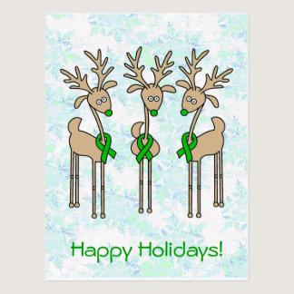 Green Ribbon Reindeer (Kidney Cancer) Postcard