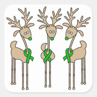 Green Ribbon Reindeer (Kidney Cancer) Square Sticker
