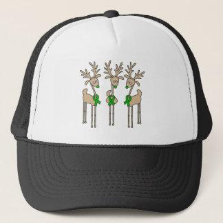 Green Ribbon Reindeer (Kidney Cancer) Trucker Hat