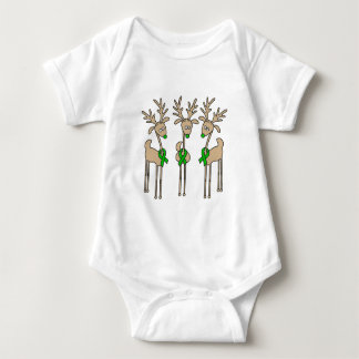Green Ribbon Reindeer (Liver Cancer) Baby Bodysuit