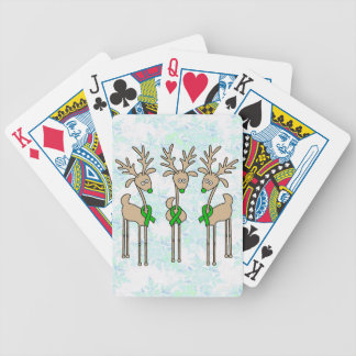 Green Ribbon Reindeer (Liver Cancer) Bicycle Playing Cards