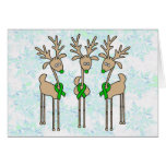 Green Ribbon Reindeer (Liver Cancer) Greeting Cards