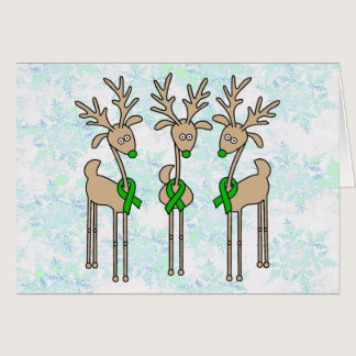 Green Ribbon Reindeer (Liver Cancer) Card