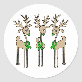 Green Ribbon Reindeer (Liver Cancer) Classic Round Sticker