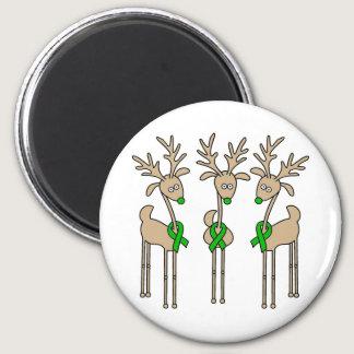 Green Ribbon Reindeer (Liver Cancer) Magnet