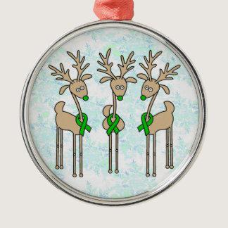 Green Ribbon Reindeer (Liver Cancer) Metal Ornament