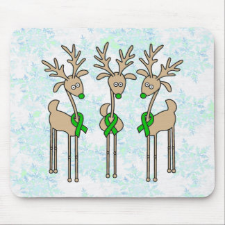 Green Ribbon Reindeer (Liver Cancer) Mouse Pad