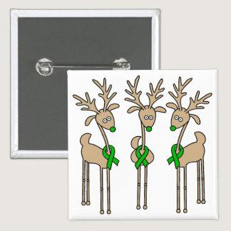 Green Ribbon Reindeer (Liver Cancer) Pinback Button