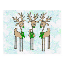 Green Ribbon Reindeer (Liver Cancer) Postcard