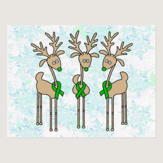 Green Ribbon Reindeer (Liver Cancer) Postcard