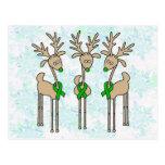 Green Ribbon Reindeer (Liver Cancer) Postcards