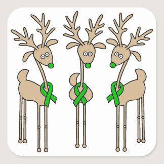 Green Ribbon Reindeer (Liver Cancer) Square Sticker