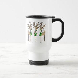 Green Ribbon Reindeer (Liver Cancer) Travel Mug
