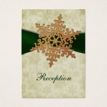 Green ribbon , rustic snowflake business card