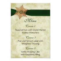 Green ribbon , rustic snowflake card
