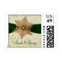 Green ribbon , rustic snowflake postage