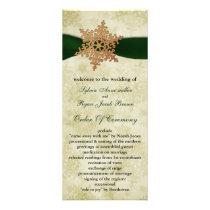 Green ribbon , rustic snowflake rack card
