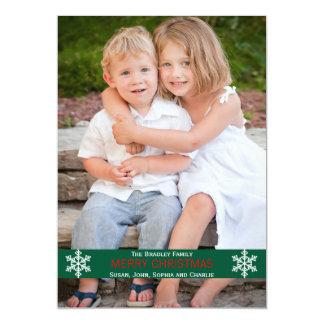 Green Ribbon Snowflake Christmas Card