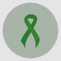 Green Ribbon Support Awareness Classic Round Sticker