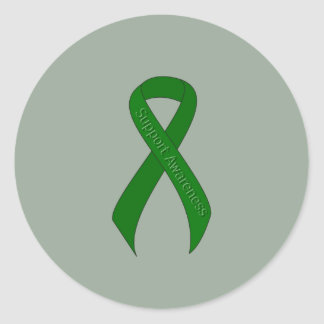 Green Ribbon Support Awareness Classic Round Sticker