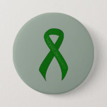 Green Ribbon Support Awareness Pinback Button