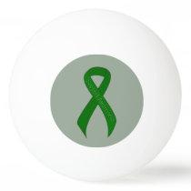 Green Ribbon Support Awareness Ping Pong Ball
