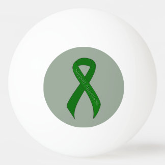 Green Ribbon Support Awareness Ping Pong Ball