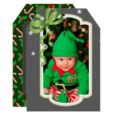 Green Ribbon, Two Sided Photo Christmas Card