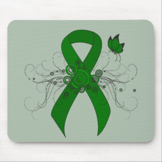 Green Ribbon with Butterfly Mouse Pad