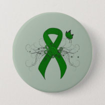 Green Ribbon with Butterfly Pinback Button