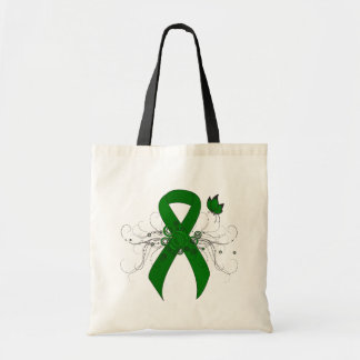 Green Ribbon with Butterfly Tote Bag