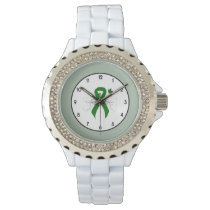 Green Ribbon with Butterfly Wrist Watch